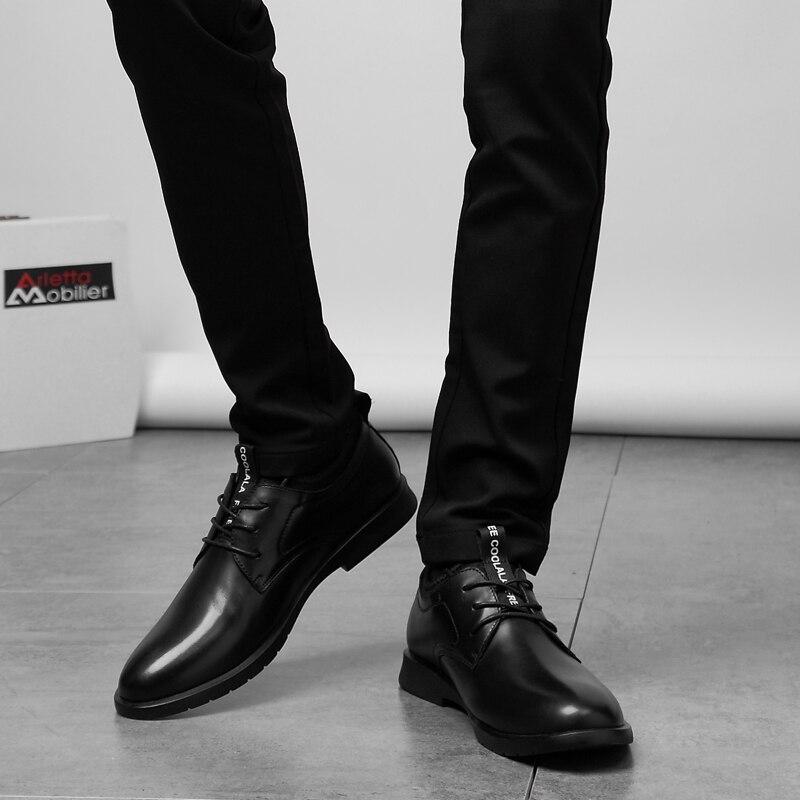 2019 г. Весенне осенние вечерние официальная Мужская обувь Брендовая бизнес обувь для взрослых Мужская обувь из искусственной кожи на платфо... - 5