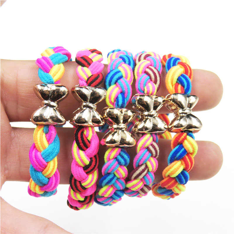 Creative Bow Two-color Spiral Elastic Hair Bands For Girls Bohemian Scrunchy Fashion Kids Hair Accessories For Women 2018