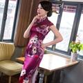Women Long Qipao Chinese Traditional Elegant Vintage Dress Floral Oriental Dresses Cheongsam Purple Womens EveningQP64
