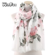 Winfox Fashion Women Scarf Floral Viscose Scarves Shawls and Wraps Lady Foulard Muslim Hijabs