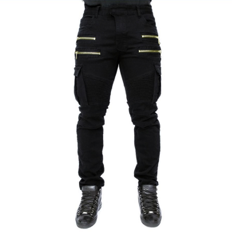 High Quality Mens Fold Biker Jeans 100% Cotton Black Slim Fit Motorcycle Jeans Men Vintage Distressed Denim Jeans Pants 3xl