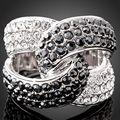 Austrália luxo Pedras Pretas Branco Cristal Banhado A Prata Anéis Para As Mulheres Jóias Dom Gratuito de Natal Caixa J00924