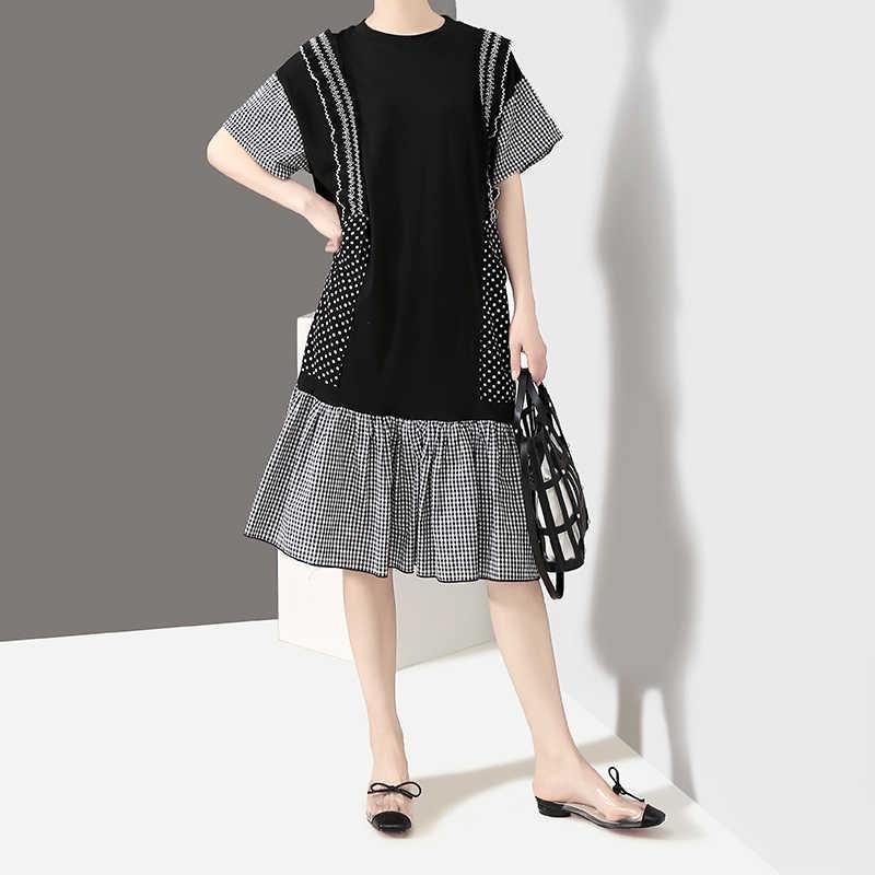 Женское трапециевидное платье, строченное платье составного кроя в горошек с короткими рукавами, оборками и круглым вырезом, модель 4999 на лето, 2019