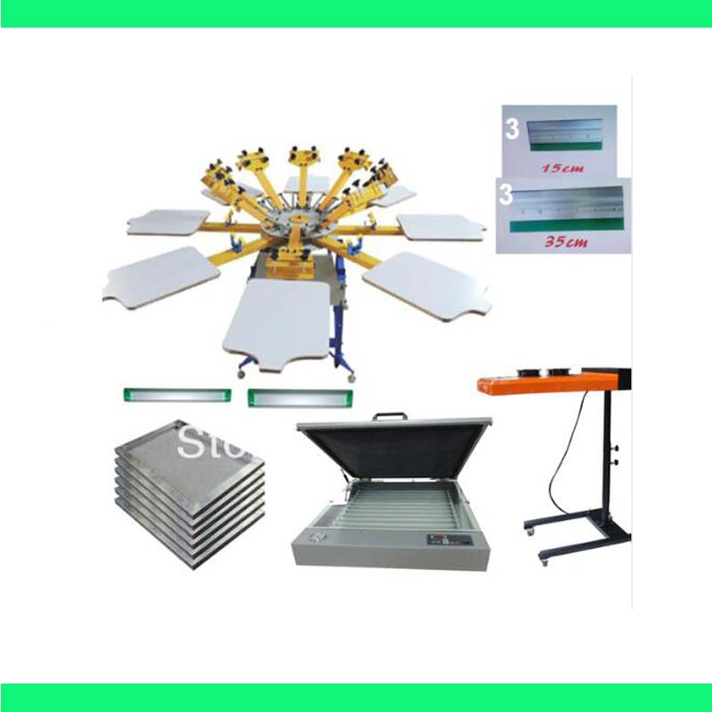NEW 8 color 8 station silk screen printing kit UV exposure Flsh dryer t-shirt printer press carousel stretched frame squeegee