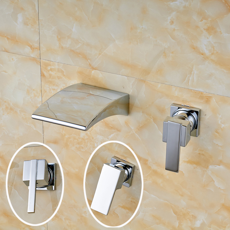 ФОТО Chrome Finish Wall Mounted Waterfall Widespread Spout with Single Handle Bathroom Faucet