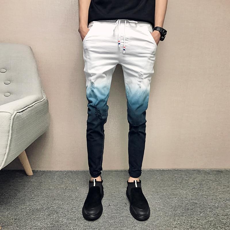 2019 Summer Jeans Men Gradient Color Streetwear Men Jeans Slim Fit Casual Skinny Jeans Men All Match Comfortable Trousers Men kryte sandały na platformie