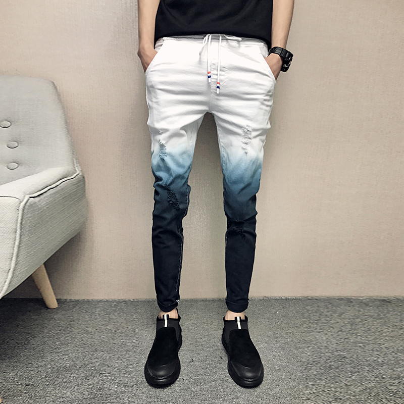 2019 Summer   Jeans   Men Gradient Color Streetwear Men   Jeans   Slim Fit Casual Skinny   Jeans   Men All Match Comfortable Trousers Men