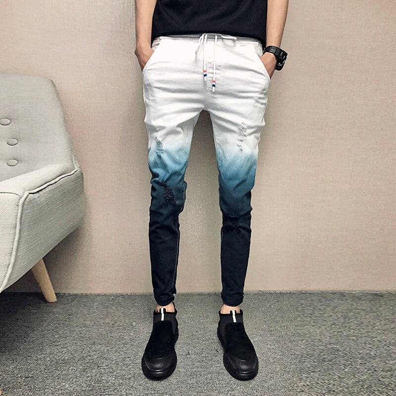 2020 Summer Jeans Men Gradient Color Streetwear Men Jeans Slim Fit Casual Skinny Jeans Men All Match Comfortable Trousers Men