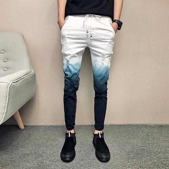 847cf38ab5 Verano de 2019 vaqueros Color degradado Streetwear de los hombres  pantalones vaqueros Slim Fit Casual Jeans
