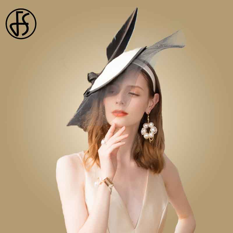 FS Fascinator Black And White Wedding Hats For Women Elegant British Tea Party Hats Feather Pink Hat Church Chapeau Fedoras
