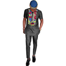 African dashiki clothes men tshirt+pant sets long sleeve tops and long trouser black cotton patchwork design african tshirt