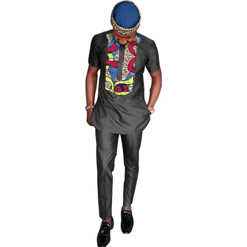 African print clothes men shirt+pant sets short sleeve tops and long trouser black outfits patchwork design African shirts