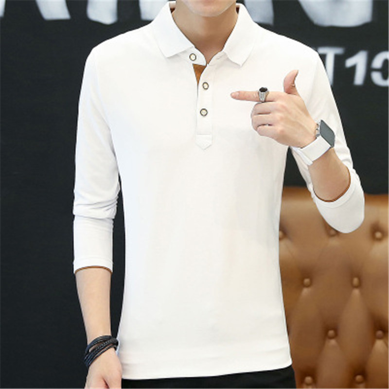 2018 New Fashion Men Polo Shirts Long sleeve Solid color Slim Fit Cotton Mens Polos Shirt M-3XL Male Clothing 5