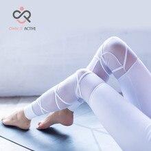 цена на Women Black Elastic Waistband Yoga pants with Mesh Panels High Waisted Leggings in White Sport Yoga Leggings P173