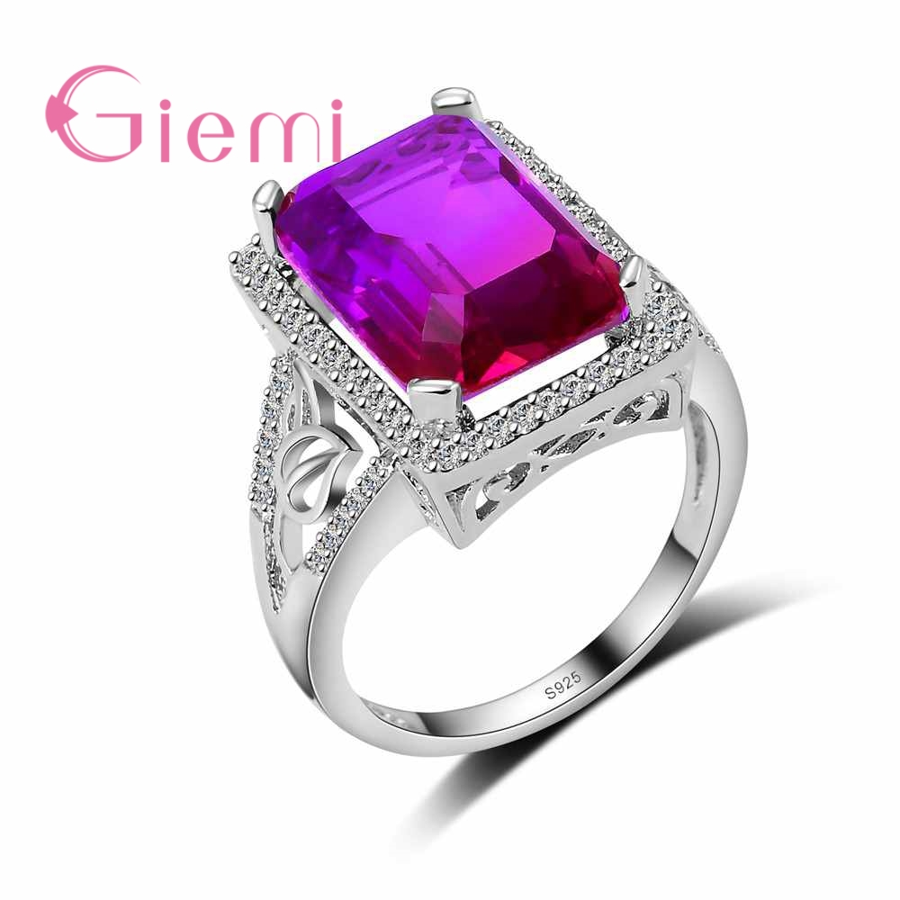 Hot Sale Wholesale Purple Red Gradient Color Austrian Crystal Stone Ring 925 Sterling Silver Party Women Jewelry