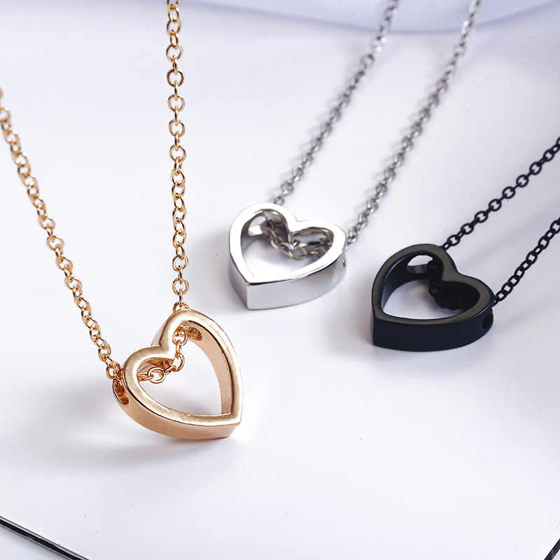 New Simple Love Heart Pendant Necklace Women's Fashion Elegant Chorker Golden Silver Black Color Necklace Wholesale Jewelry