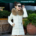 2016 New Winter Coat, Cotton Feather Size Long Big Fur Collar Coat Jacket Slim Winter Jacket Women Down Coat Women Jacket Parka
