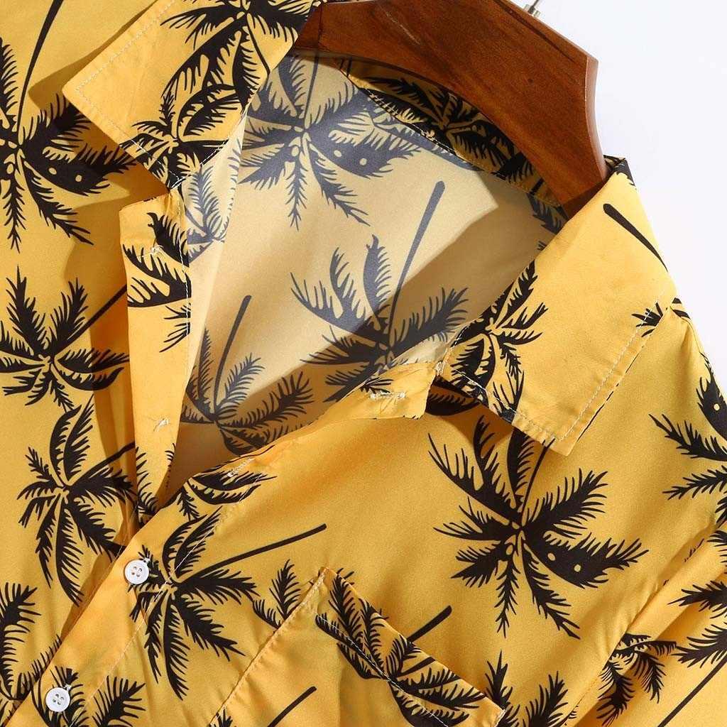 Áo sơ mi nam Hè Hawaii In áo sơ mi tay Ngắn Rời Đi Biển Nam Dệt Áo Camisas Hombre