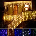 Christmas Lights Curtain 3.5m Droop 0.3-0.5m Icicle LED String Light Wedding Decoration Party Fairy Lights EU 220V R20