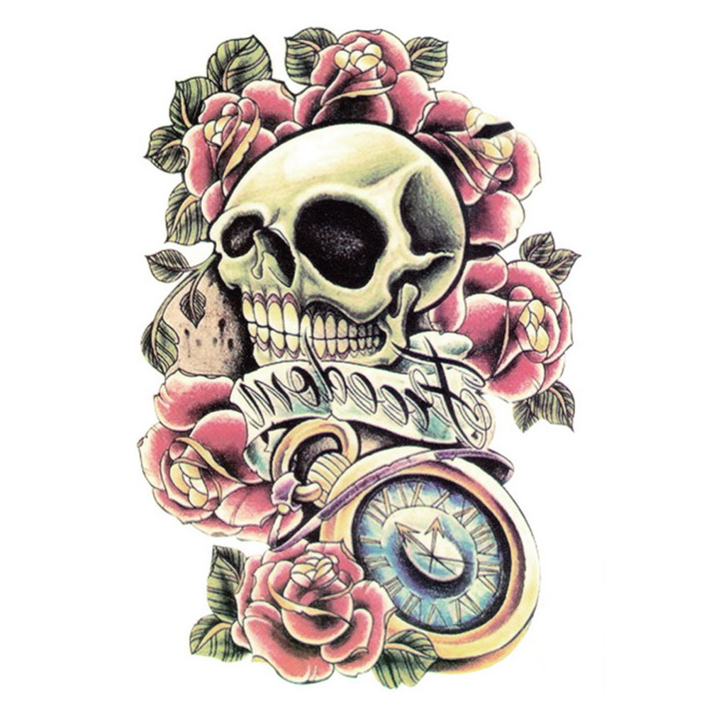 Yeeech Temporary Tattoos Sticker for Men Women Fake Large Skull Rose Roman Clock Forever Love Designs Arm Leg Cool Sexy Body Art