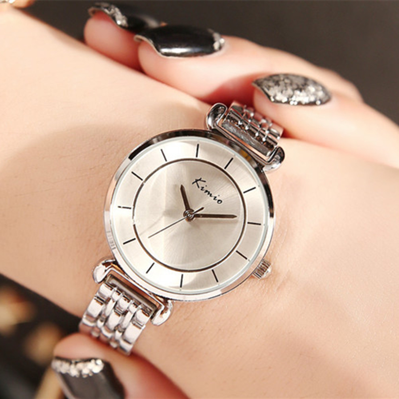 Ladies Time-limited Watches 2017 Women Watch Clover Famous Brand Fashion Stainless Steel Bracelet Quartz Wrist For Montre Femme stylish 8 led blue light digit stainless steel bracelet wrist watch black 1 cr2016