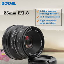 25mm F/1.8 HD MC Interface Manual Focus Lens for SONY E mount A7 II NEX3 5 6 7 A6000 A6300 NEX-5K; NEX-5R; NEX-6; NEX-6L Black
