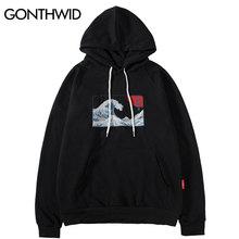 GONTHWID Embroidered Japanese Ukiyo-e Kanagawa Surfing Thin Hoodies Sweatshirts 2020 Harajuku Hip Hop Casual Pullover Hoodie Top