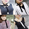 2016 New Imitation GothicChain Big Pearl Pendant Necklaces Clavicle Women Jelwery Black Choker Collare Maxi Necklace For Women