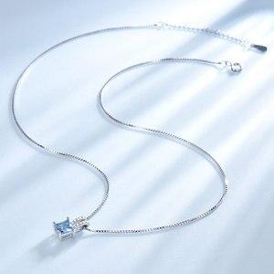 Image 2 - UMCHO colliers en argent Sterling 925, pendentifs élégants, bijoux en topaze bleu ciel, cadeau de mariage pour femmes, avec chaîne