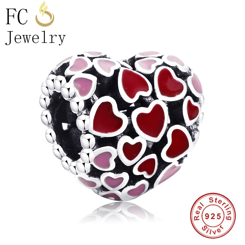 FC Jewelry Fits Original Pandora Charms Bracelets 925 Sterling Silver Enamel Multicolor Heart Beads for making DIY Berloque Gift
