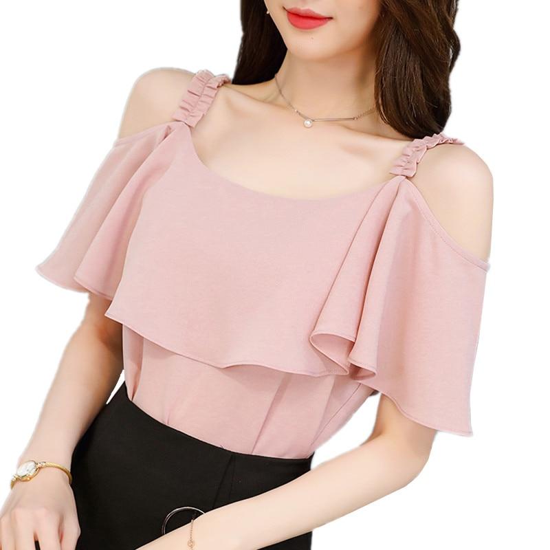 6708307870f1 B2205 Spring summer 2019 new korean version women fashion sexy casual short- sleeved white chiffon shirt cheap wholesale
