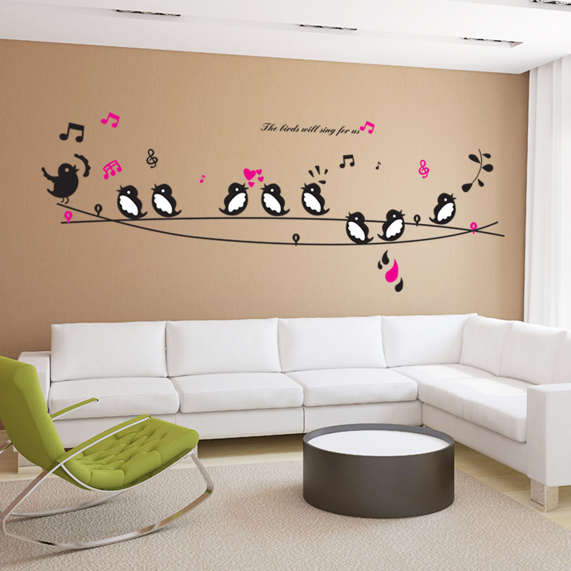 Birds Sing Song Music Heart Wall Stickers Living Room Bedroom TV Sofa Background Home Decals Paper Art Mural Poster