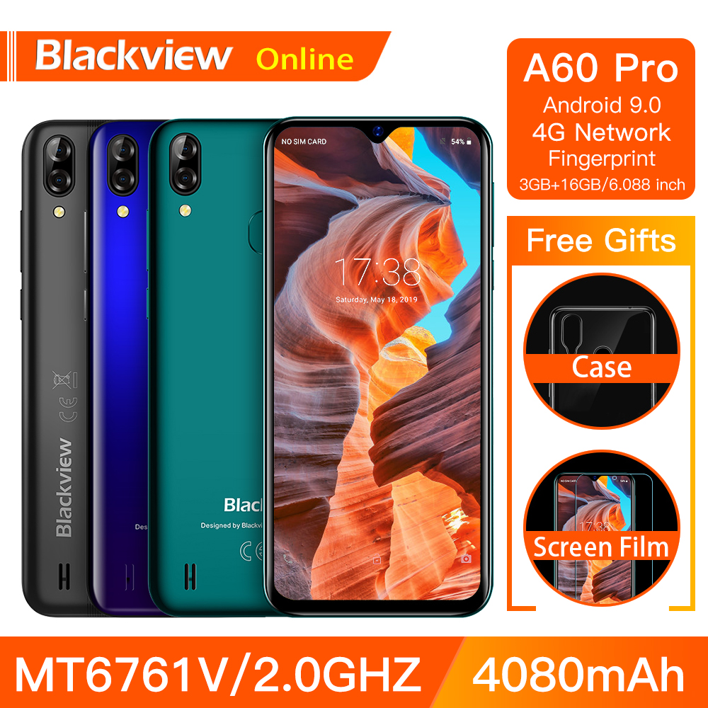Blackview A60 Pro Mobile Phone Android 9 0 MT6761V Quad core Cellphone 3GB 16GB Waterdrop Screen