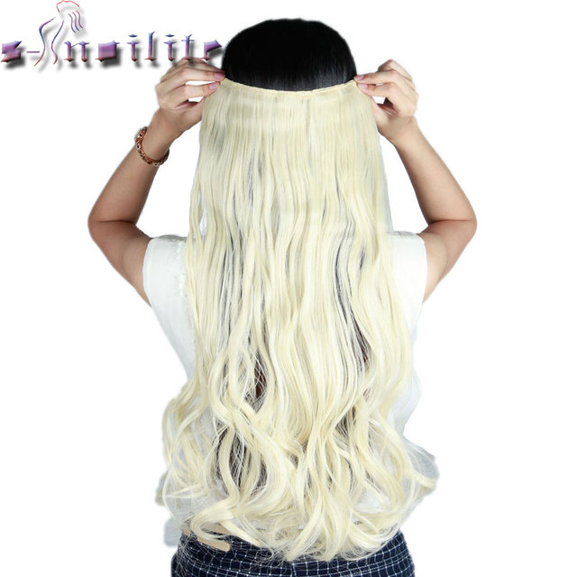 S Noilite 61cm 24 Platinum Blonde Curly Long One Piece Clip In Full