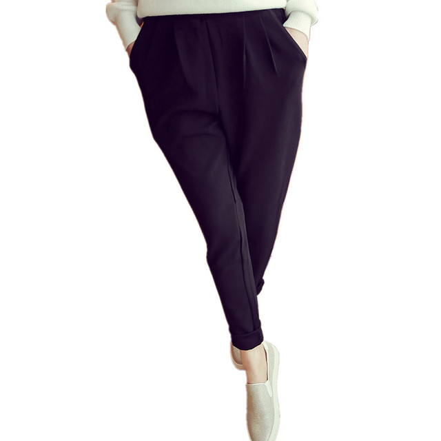 Chiffon White Black Ankle-Length Summer Spring Loose Large Size Harem Leggings For Women Legins Casual Pockets Pants 5XL TT2241