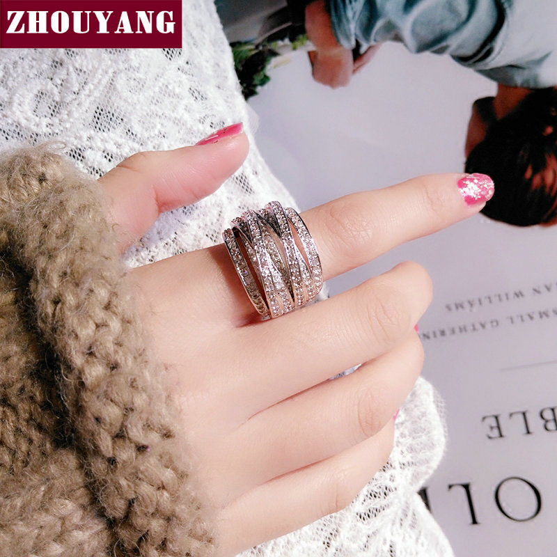 ZHOUYANG Rings For Women Cross Ring Luxury Wedding Engagement Hollowed-out Cubic Zirconia Silver Color Fashion Jewelry DD017