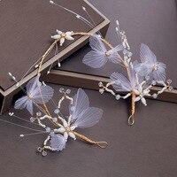 White Yarn Flower Headband Princess Girls Wedding Headdress Hair Accessories Bridal Headpiece Gold Color Alloy Headwear Handmade