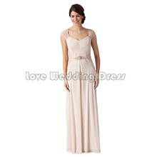 Elegant Cap Sleeve bridesmaid dresses Ruched Draped wedding party gown Chiffon Lace backless formal party vestido de casamento