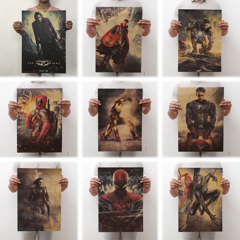 mling 1PC 51.5x36cm Movie Marvel Series Poster Avengers Infinity War Retro Poster Wall Stickers For Living Room Home Decoration image