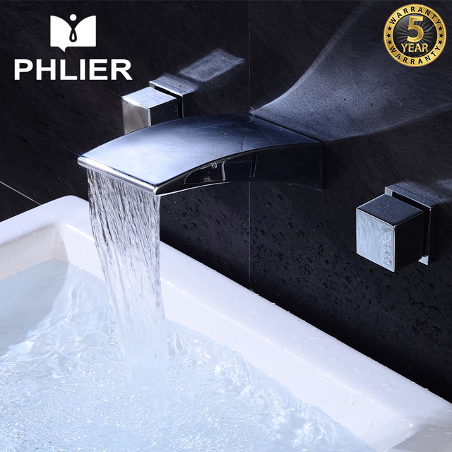 PHLIER Waterfall Bathroom Faucet Single Handle Sink Faucet Hot Cold ...
