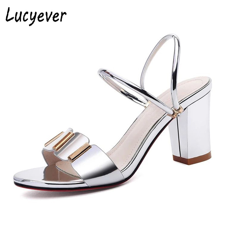 Lucyever Fashion Women Summer Gladiator Sandals Sexy Thick High Heels Leather Party Shoes Woman Open Toe Dress Pumps Gold Silver 2018 fashion women pumps sexy open toe heels sandals woman sandals thick with women shoes high heels s144
