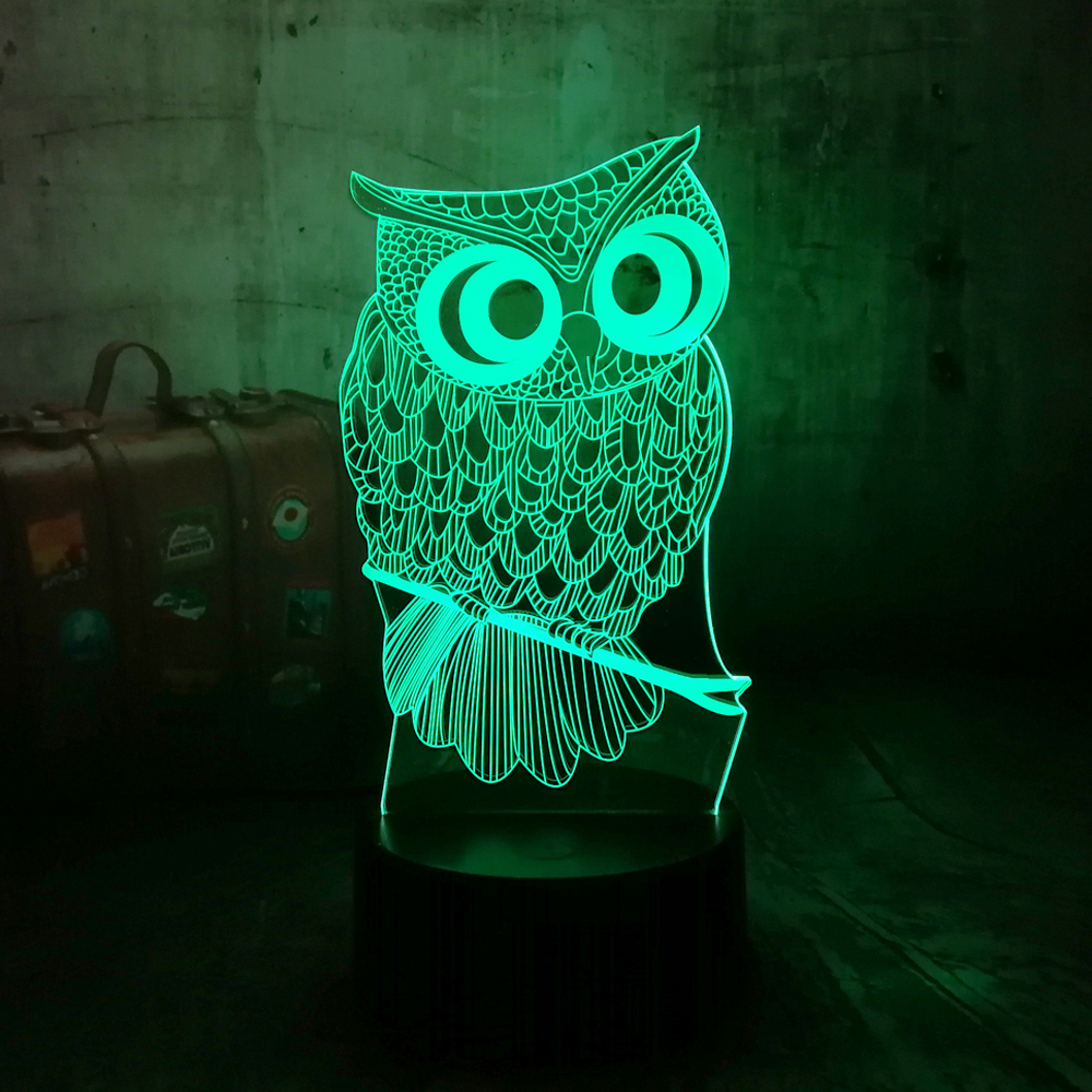 Cute 3D LED Lamp Owl Desk Night Light 7 Color Change USB Touch remote Controller Holiday Decor Christmas Gift boy Baby Toy Lava image