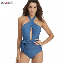 XARKE Bathing Suit Women One Piece Bikini Sexy Body Suit Cross Deep Plunge Swimsuit for Women Backless Swimsuit Female Swimwear printed backless plunge neck swimsuit