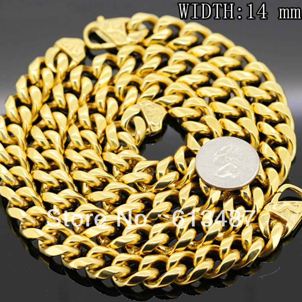 все цены на NEW HEAVY STAINLESS STEEL MENS GOLD CURB CUBAN CHAIN NECKLACE BRACELET SET 14mm 30 онлайн