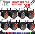 8pcs / 7X12W led Par lights RGBW 4in1 flat par led dmx512 disco lights professional stage dj equipment