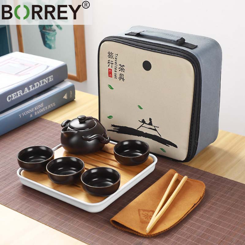 BORREY Travel Ceramic Tea Sets Kung Fu Portable Tea Set With Tea Ceremony Tray Ceramic Teapot And Teacups Gaiwan Porcelain Gift
