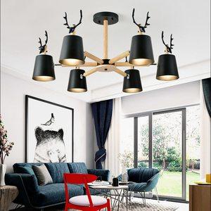 Nordic minimalista moderno de madeira maciça e27 led lustre 220v sala estar quarto estudo personalidade criativa lâmpada alumínio