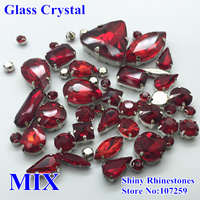 40pcs Pack Siam Red Mixed Shapes Mixed Sizes Sew On Stones With Claw Setting Glass Loose