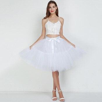 Petticoat 5 Layers 60cm Tutu Tulle Skirt Vintage Midi Pleated Skirts Womens Lolita Bridesmaid Wedding faldas Mujer saias jupe 6