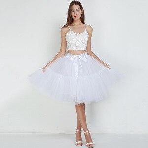 Image 5 - Petticoat 5 kat 60cm Tutu tül etek Vintage Midi pilili etekler bayan Lolita nedime düğün faldas Mujer saias jupe